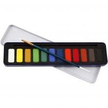 Akvarellivärit sis. siveltimen, 12 väriä