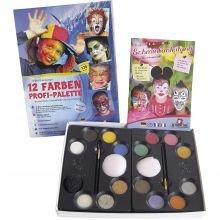Ansigtsfarve - Palette m. 12 farver og idéer