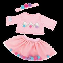 Nuken vaatteet – Mekko+pusero, pompomeilla, 45 cm