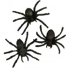 Edderkopper i plast 4 cm, 10 stk.