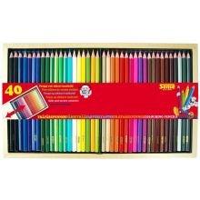 Värityskynät puulaatikossa, 40 kpl