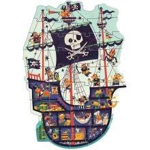 Gulvpuslespil med 36 brikker - Piratskib