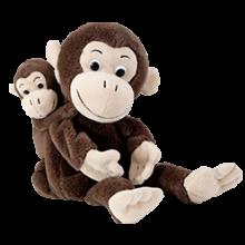 Käsi- ja sorminuket - Apinaäiti poikasilla