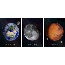 Interaktiiv. juliste 3-in-1 - Maapallo, Kuu & Mars