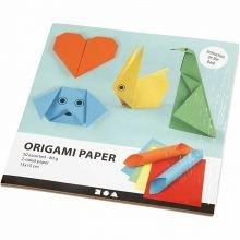 Origami 15 x 15 cm - Basisfarver, 10 ark