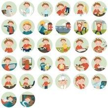 Piktogrammi tarvikkeet - Poika magneetit, 33 kpl