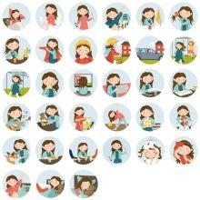 Piktogrammi tarvikkeet - Tyttö magneetit, 33 kpl