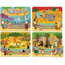 Palapeli puusta - Eläintarha, 4 x 6 palaa
