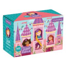 Puslespil med glitter, 100 brikker - Prinsesser