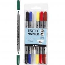 Tekstiilitussit - Perusvärit, 6 kpl