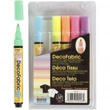 Tekstiilitussit - Neonvärit, 6 kpl